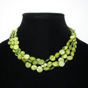 Beautiful multistrand green shell necklace 16-19""